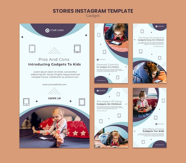 Gadget-impact op instagram-verhalen voor kinderen Premium Psd