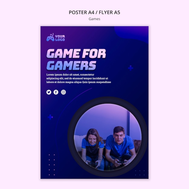 Game spot poster sjabloon Gratis Psd