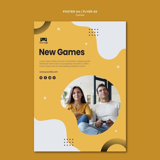 Games poster sjabloon concept Gratis Psd