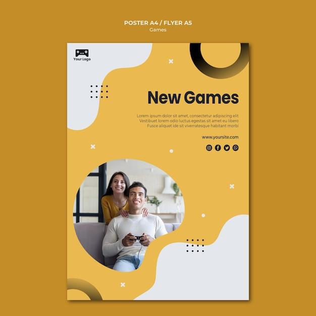 Games poster sjabloon stijl Gratis Psd