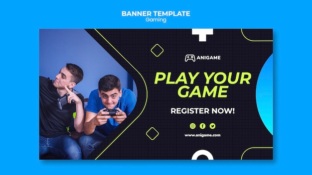 Gaming concept sjabloon voor spandoekontwerp Gratis Psd