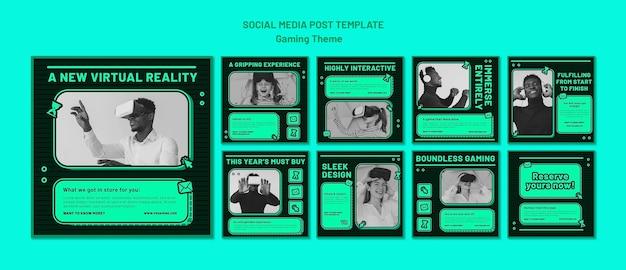 Gaming-thema sociale media postsjabloon Gratis Psd