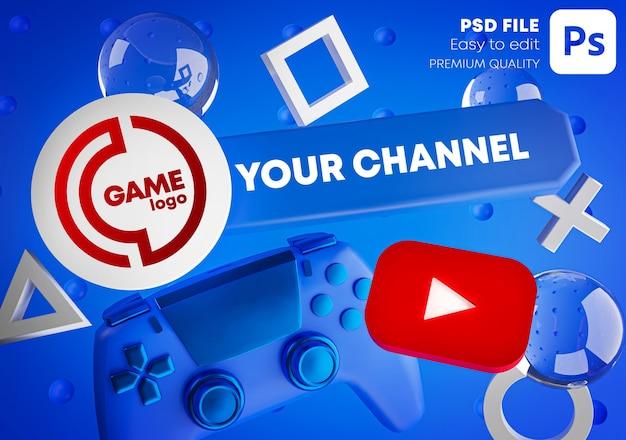 Gaming youtube channel logo-promotiemodel voor gamepad Premium Psd