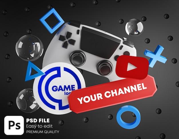 Gaming youtube-kanaal logo promotie mockup Premium Psd