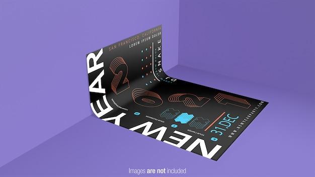 Gebogen poster mockup geïsoleerd Premium Psd
