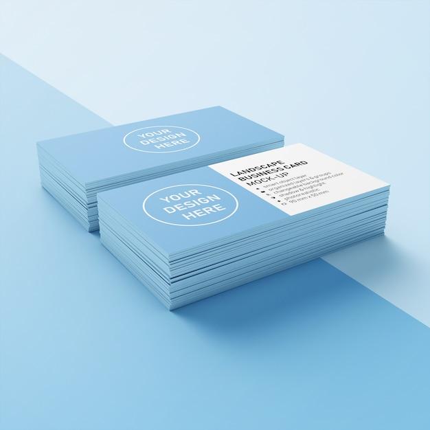 Gebruiksklaar double stack 90x50 mm premium landscape bedrijfspresentatie mock up ontwerpsjabloon in een lager perspectief Premium Psd