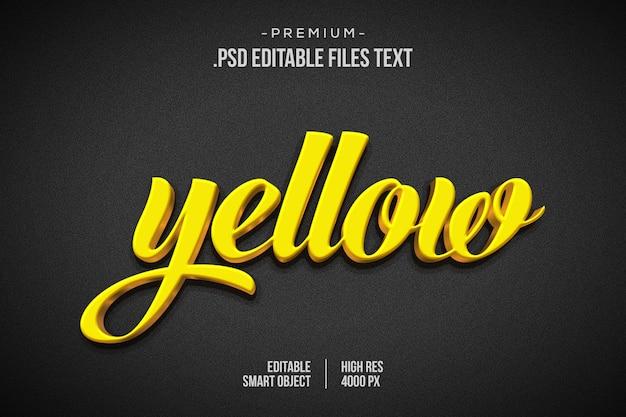 Geel gouden teksteffect psd, elegant abstract mooi teksteffect, 3d-tekststijl instellen Premium Psd