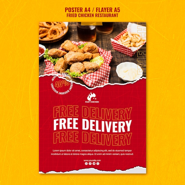 Gefrituurde kip gratis bezorging poster sjabloon Gratis Psd