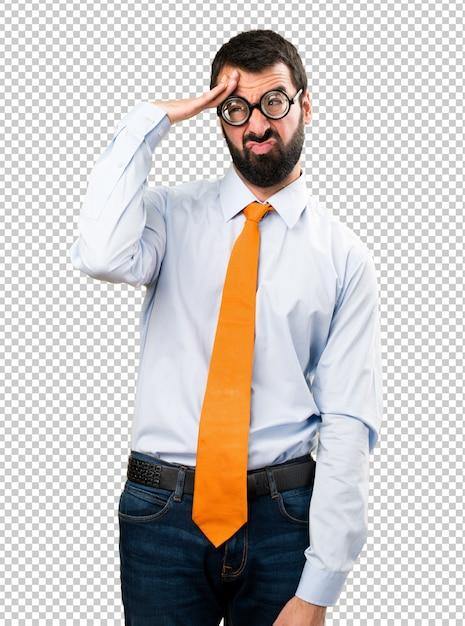 Gefrustreerde grappige man met een bril Premium Psd
