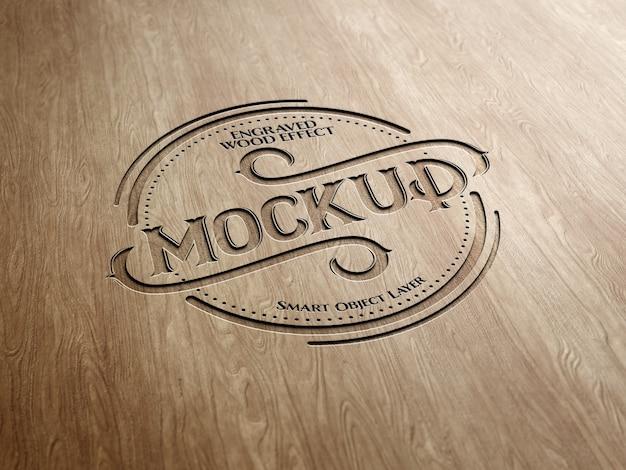 Gegraveerd houtteksteffect Premium Psd