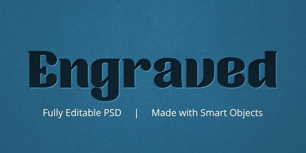 Gegraveerd teksteffect Premium Psd