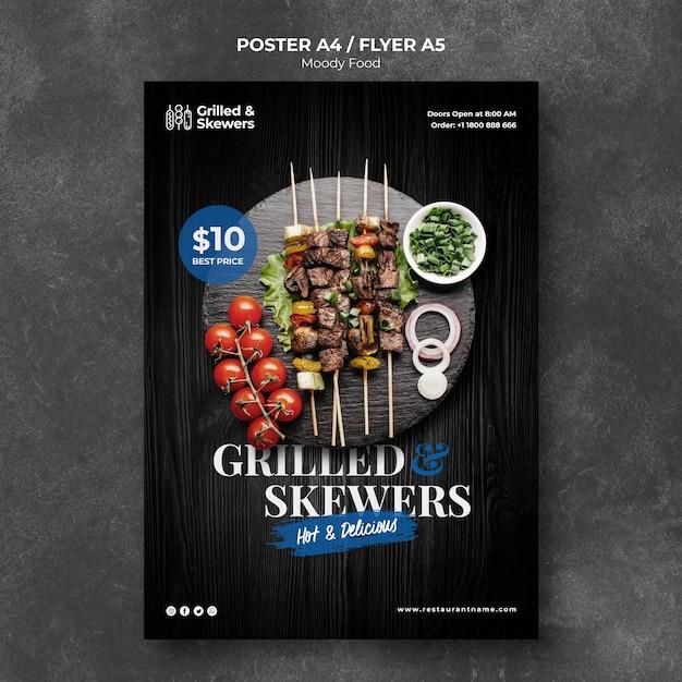 Gegrilde brochettes met groenten restaurant poster sjabloon Gratis Psd