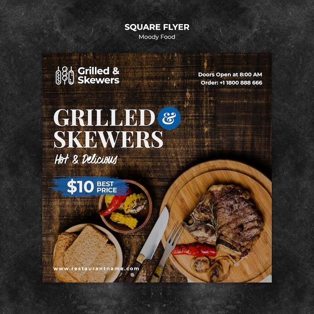 Gegrilde steak en groenten restaurant vierkante sjabloon folder Gratis Psd