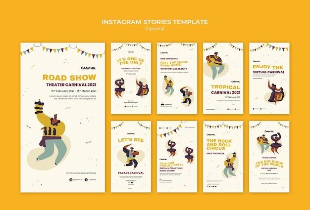 Geïllustreerde carnaval instagram-verhalen sjabloon Premium Psd