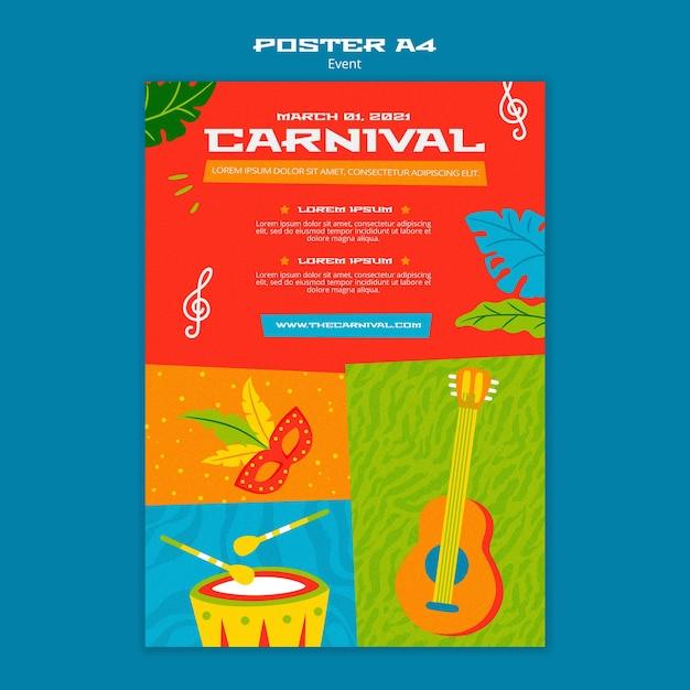 Geïllustreerde carnaval poster sjabloon Premium Psd