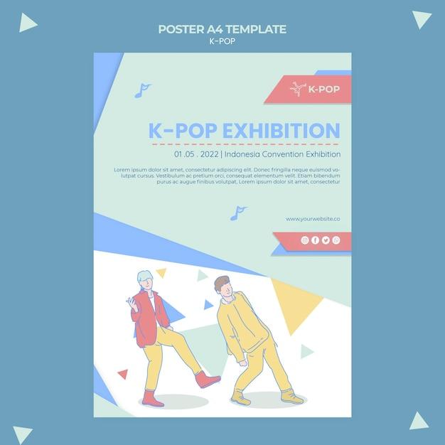 Geïllustreerde k-pop a4-postersjabloon Gratis Psd