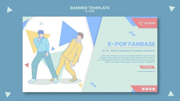 Geïllustreerde k-pop horizontale banner sjabloon Gratis Psd