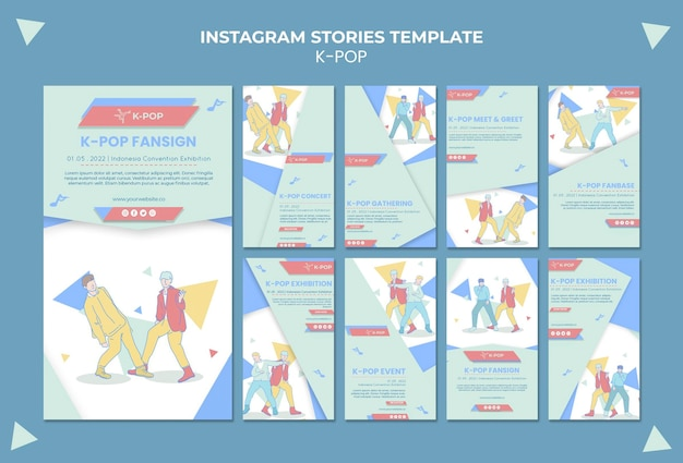 Geïllustreerde k-pop instagram-verhalen sjabloon Gratis Psd