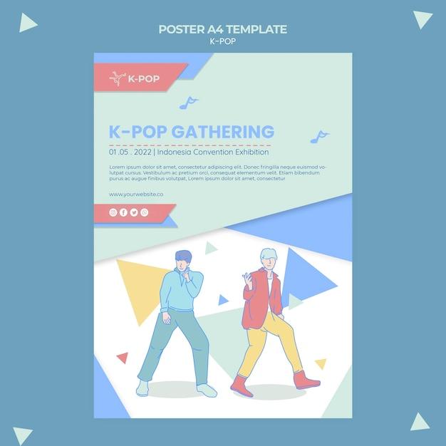 Geïllustreerde k-pop postersjabloon Gratis Psd