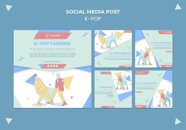 Geïllustreerde k-pop posts op sociale media Gratis Psd