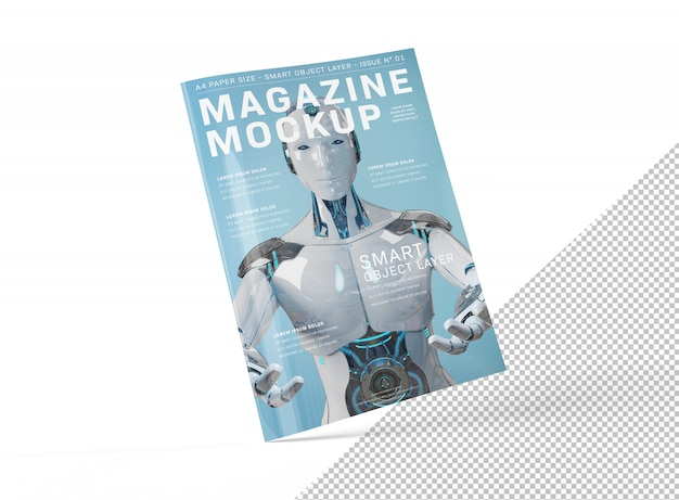 Geïsoleerd uitgesneden blanco a4 magazine cover mockup floating Premium Psd