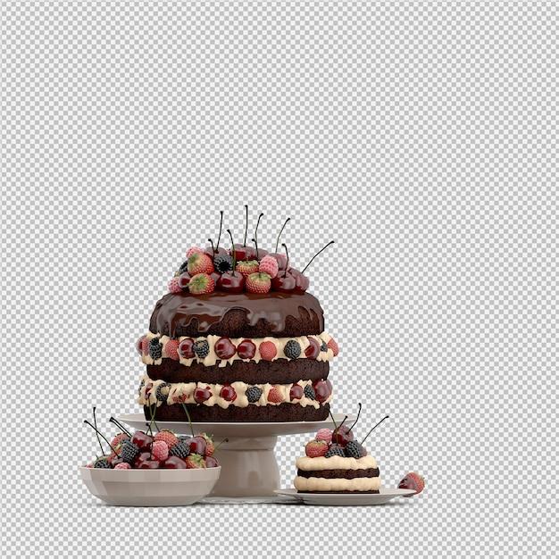 Geïsoleerde cake 3d geeft terug Premium Psd