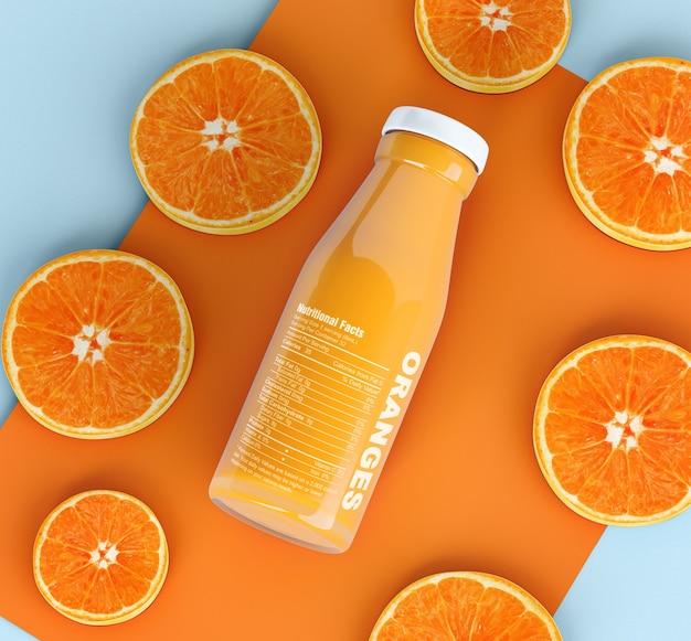 Geïsoleerde fles vruchtensap en plakjes sinaasappel Gratis Psd