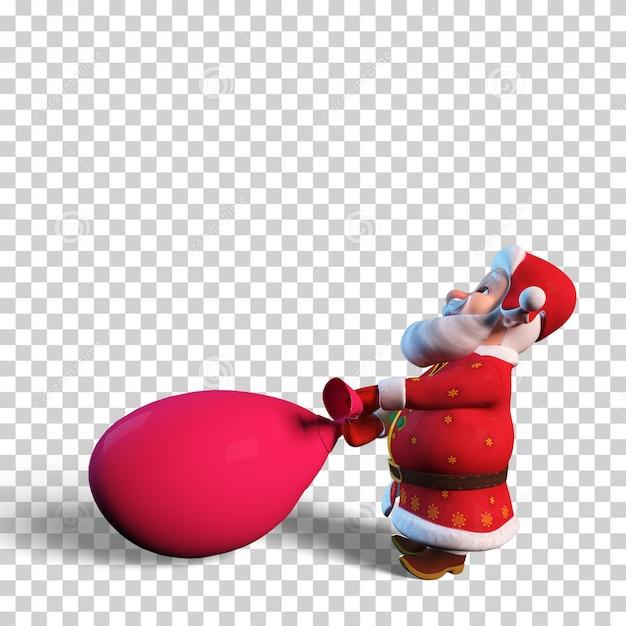 Geïsoleerde karakterillustratie van de kerstman met grote rode zak voor kerstontwerp Premium Psd