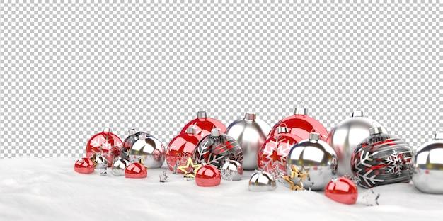 Geïsoleerde kerstmissnuisterijen die op sneeuw worden opgesteld Premium Psd
