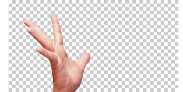 Geïsoleerde mannelijke hand greep gebaar Premium Psd