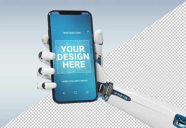 Geïsoleerde witte robothand die modern smartphonemodel houden Premium Psd
