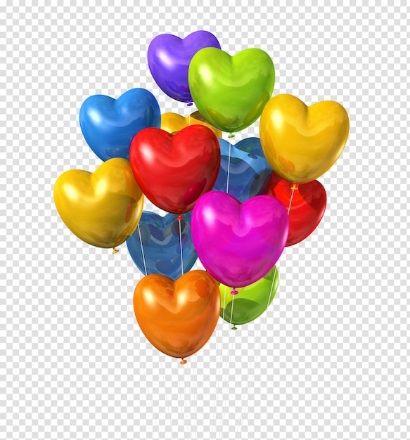 Gekleurde hartvormige ballonnen geïsoleerd Premium Psd