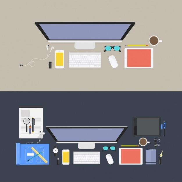 Gekleurde werkplekken ontwerp Gratis Psd