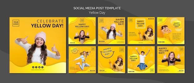 Gele dag concept sociale media postsjabloon Gratis Psd