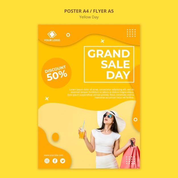 Gele dag grote verkoop dag flyer-sjabloon Gratis Psd