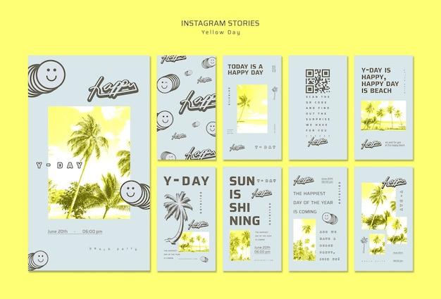 Gele dag instagram verhalen concept Gratis Psd