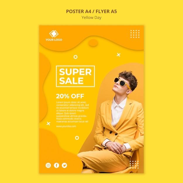 Gele dag super verkoop flyer-sjabloon Gratis Psd