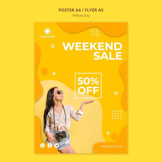 Gele dag weekend verkoop poster sjabloon Gratis Psd