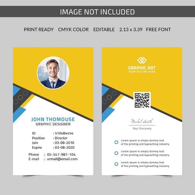 Gele identiteitskaartsjabloon Premium Psd