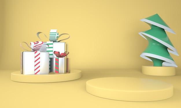Gele kerst achtergrond met kerstboom en podium voor productvertoning Premium Psd