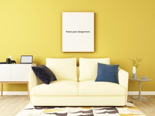 Gele muur met bank, decoratieve sets en postermodel Premium Psd