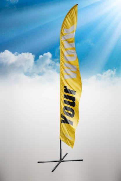 Gele vlag mock up Gratis Psd