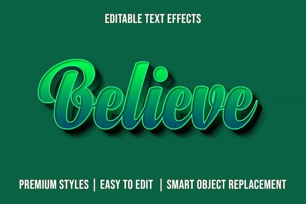 Geloof - 3d groene premium teksteffecten mockup Premium Psd