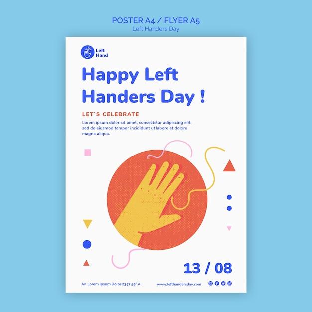 Gelukkig linkshandigen dag flyer-sjabloon Gratis Psd