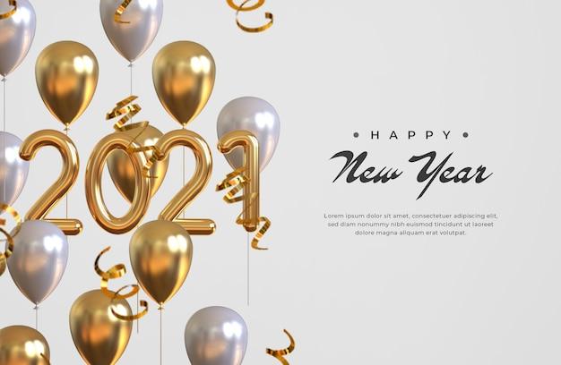 Gelukkig nieuw jaar 2021 met ballonnen en confetti Premium Psd