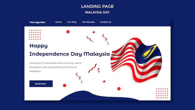Gelukkige bestemmingspagina-sjabloon voor onafhankelijkheidsdag maleisië Gratis Psd