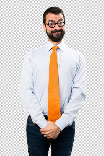 Gelukkige grappige man met een bril Premium Psd