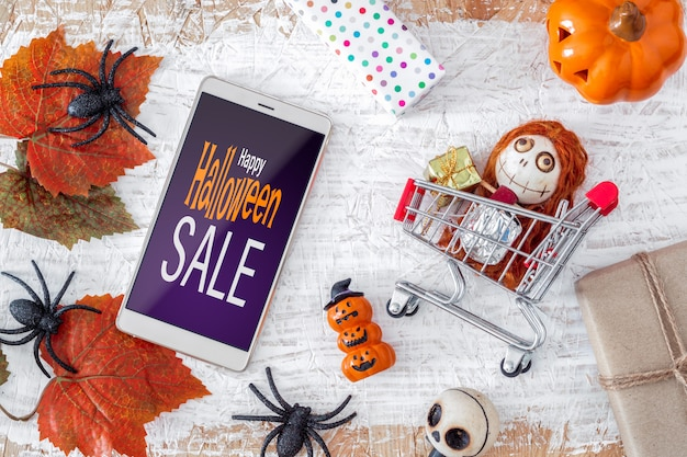 Gelukkige halloween-het modelbanner van verkoopsmartphone Premium Psd