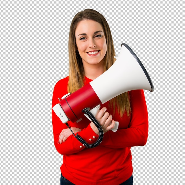 Gelukkige jonge blonde vrouw die een megafoon houdt Premium Psd