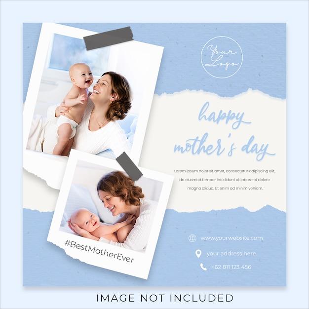 Gelukkige moederdag groet sociale media sjabloon voor spandoek Premium Psd